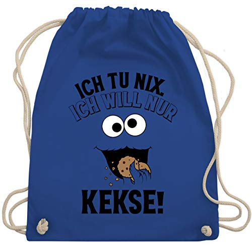 Shirtracer Karneval & Fasching - Ich tu nix. Ich will nur Kekse! - schwarz - Unisize - Royalblau - cookie tasche - WM110 - Turnbeutel und Stoffbeutel aus Baumwolle