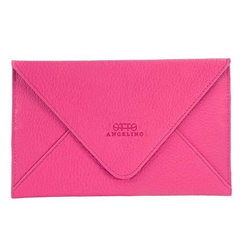 Otto Angelino portafoglio in vera pelle e porta carte di credito - portafolgio da viaggio stile-busta - scompartimenti multipli per denaro, Smartphone - Blocco di RFID (Rosa)