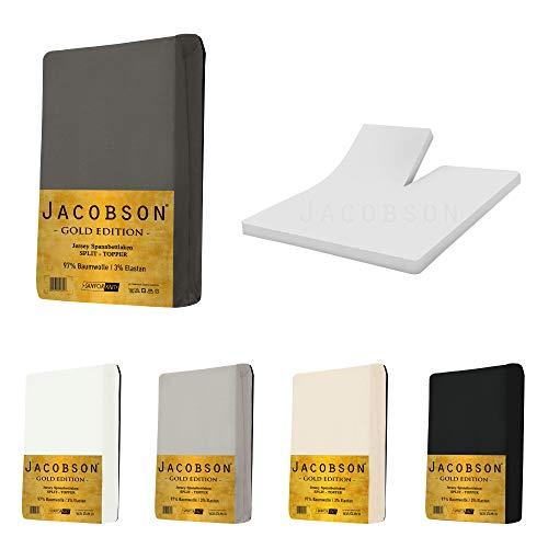 Jacobson Split Topper Gold Edition Jersey Spannbettlaken Spannbetttuch Baumwolle mit ELASTAN ca. 200 g/m² (180 x 200 cm - 200 x 200 cm, Anthrazit)