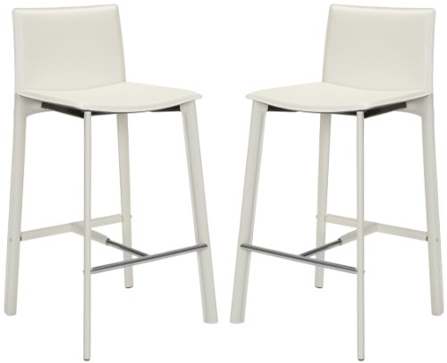 Safavieh Home Collection Janet Mid-Century White Leather 30-inch Bar Stool (Set of 2)