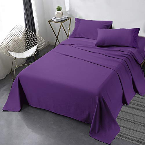 Secura Everyday Luxury Queen Bed Sheet Set 4 Piece - Soft Microfiber 1800 Thread Count 16' Deep Pocket Sheet Sets - Hypoallergenic, Wrinkle & Fade Resistant (Purple)