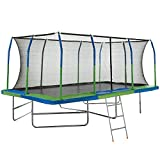 Rectangular Trampoline with Safety Pad, Net & 3 Step Ladder – Easy...