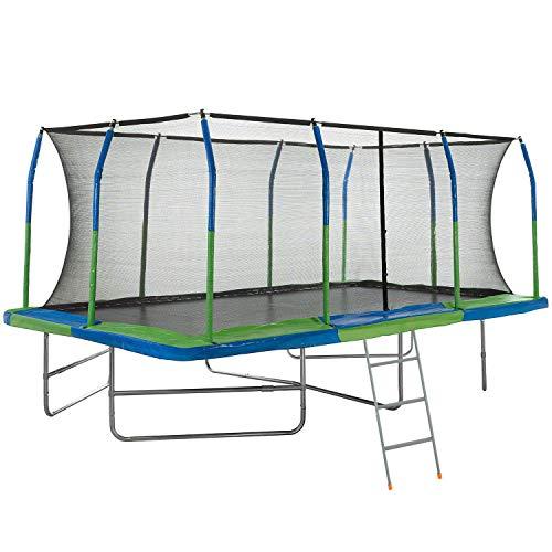 Upper Bounce Mega Outdoor Trampoline with Fiber Flex Enclosure System, 10' X 17' | Big Trampoline for kids | Rectangular adult trampoline | Safe & Fun Great Exercise Trampoline | Bonus 42' Step Ladder