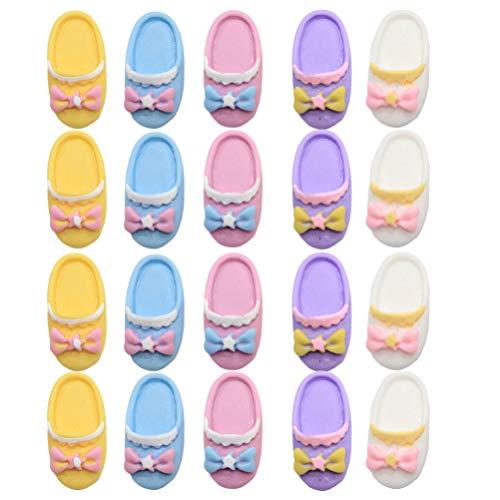 Toyvian 20Pcs Puppenhausharz Blumenglasflasche Ornament Pantoffelform DIY Schmuck Machen Handwerk für Mikrolandschaftsdekoration Kinder So Tun Als Würden Sie Spielzeug Spielen (Zufällige