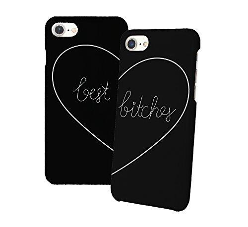 Best Bitches Black Matching iPhone Protective Hard PC Case Cover for Couples Best Friends in Relationship Present BFF Bae for iPhone 6 6s 7 7plus 8 X 3D Print