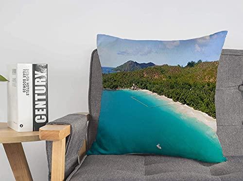 Funda de Almohada Decorativa de Lino Azul Hermosa Vista aérea ANSE Lazio Beach Praslin Nature Above Parks Green Cloud Creole Holiday Soft Square Funda de cojín para sofá, Silla, Dormitorio, 18'x 18'