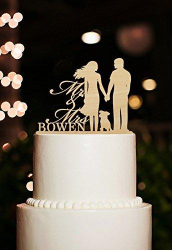 Coyote Party and print-Decorazione per torta di matrimonio, motivo: Mr e Mrs personalizzabili con nome, motivo: 'Bride and Groom, topper per dolci, con cane, stile rustico