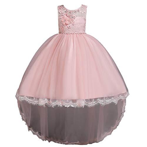 Puseky Abito da Bambina per Bambina con Maniche Lunghe e Maniche Lunghe da Principessa (Color : Pink, Size : 9Y-10Y)
