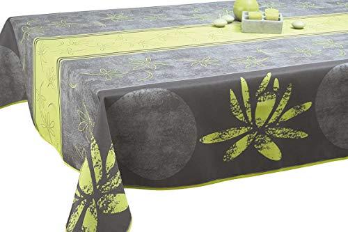 Le linge de Jules Nappe Anti-Taches Lotus anis - Taille : Rectangle 150x200 cm