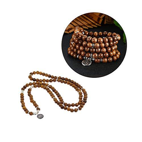 Acxico 1Pcs Wooden Beads Mala Buddhist Buddha Lotus Meditation Reiki Bracelets Necklaces