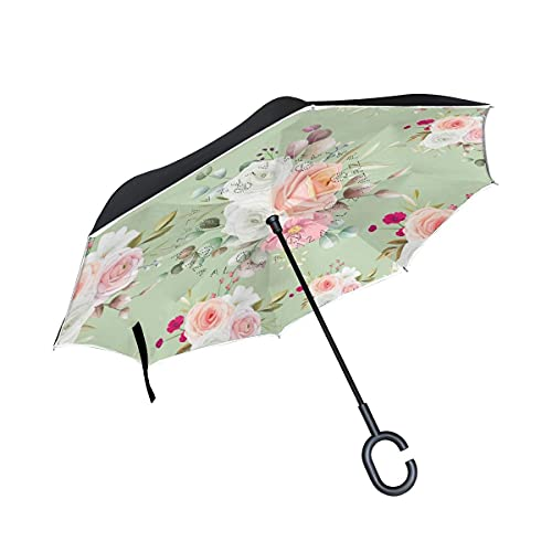Paraguas plegables Hermosa Flor Rosa Floral Paraguas Invertido Antiviento Protección contra Rayos UV Ligero Compacto Invertida Paraguas para Coche Viajes Playa Mujeres Niños Niñas