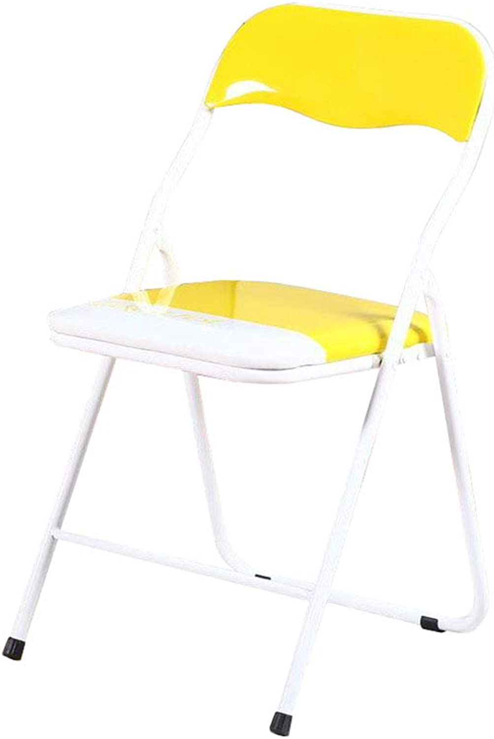 Folding Chair Yellow White Padded Office Home Desk Chair Dining Chair