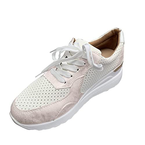 Ghemdilmn Comfy - Zapatillas deportivas con cuña para mujer, transpirables, para exteriores, para correr, para verano, otoño o senderismo, dorado, 39 EU