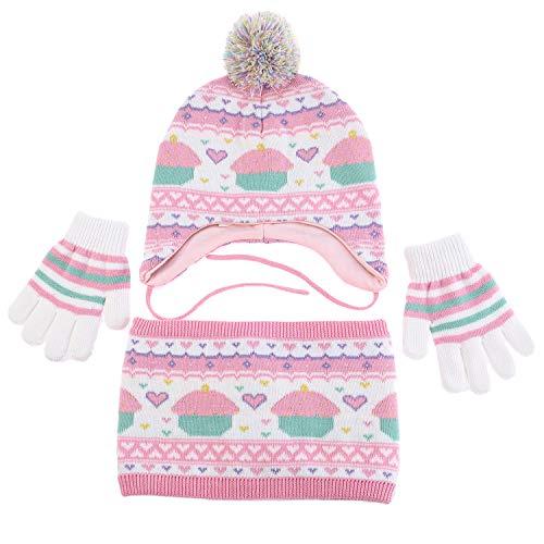Peppa Pig Pink Winter Fleece Beanie Hat /& Mitten Gloves Girls Kids 2-pc Set 2-6