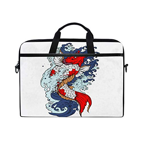 Laptop Sleeve Case,Laptop Bag,Japanese Koi Fish with Wave Water Briefcase Messenger Notebook Computer Bag with Shoulder Strap Handle,28.5×38 CM/14 Inch