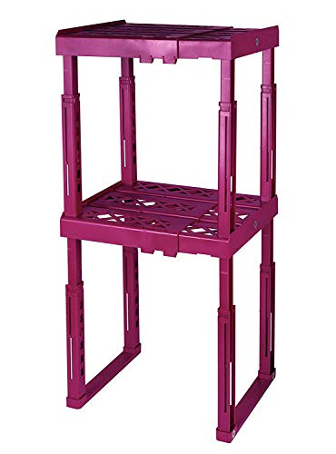 """Tools for School Locker Shelf with Adjustable Width 8"""" - 12 1/2"""" and Height 9 3/4"""" - 14"""". Stackable and Heavy Duty. Ideal for School, Work and Gym Lockers. Double (Magenta)"""