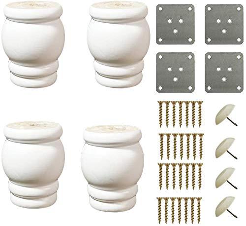 XGFJQZ Möbelfüße,Tischbeine,Sofafuss,Holz,Möbelfußbrett Möbelersatzteile,Inklusive Schrauben und Montageplatten,Weiß (4 Pack)
