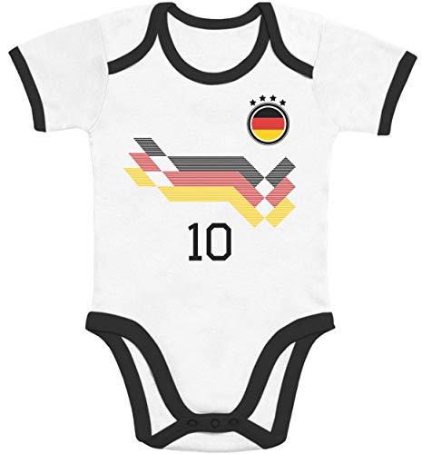 Shirtgeil Deutschland Fußball EM WM Trikot Kinder Wunschname Nummer Baby Body Kurzarm-Body 6-12 Monate Black/White