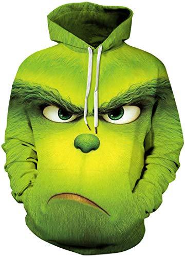Chaos World Herren 3D Druck Kapuzenpullover Langarm Sweatshirt Mit Taschen Halloween Hoodie(00Grün Monster,L)