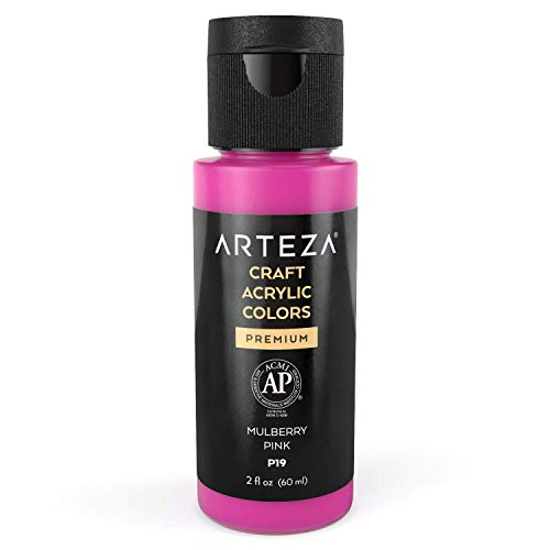 Arteza Craft Acrylic Paint P19 Mulberry Pink, 60 ml Bottle, Water-Based, Matte Finish, Blendable Paints for Art & DIY Projects on Glass, Wood, Ceramics, Fabrics, Paper & Canvas