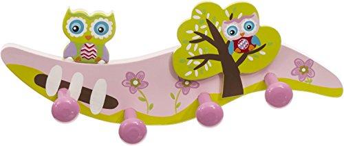 Bieco Garderobe Kinder Eule| Kindergarderobe Holz mit Kinder Kleiderhaken | Garderoben-Leiste | Wandgarderobe | Kleiderhaken Kinder Garderoben | Garderobenleiste Kinder 28 cm 4 Haken