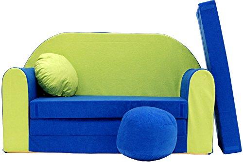 Pro Cosmo N Divano Letto per Bambini con Pouf/poggiapiedi/Cuscino, Tessuto, Multicolore, 168x 98x 60cm
