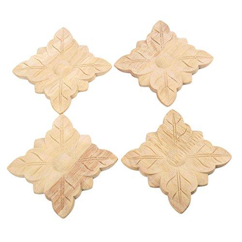 Aplique de madera tallada sin pintar con esquina cuadrada de estilo europeo, 4 unidades, 2#