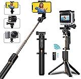 Selfie Stick Stativ, Bovon Verstellbare Selfie Stange mit Bluetooth-Fernauslöser, 360° Rotation Ausfahrbar, Selfiestick für alle Telefone mit der Breite von 5.51-8.51 cm, Gopro Action Kamera (Schwarz)