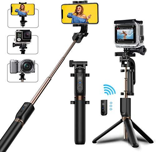 Bovon Treppiede Smartphone, Bastone Selfie con Bluetooth Telecomando [ Rotazione di 360°] Estensibile Selfie Stick Treppiede per Smartphone, Gopro, Fotocamera etc