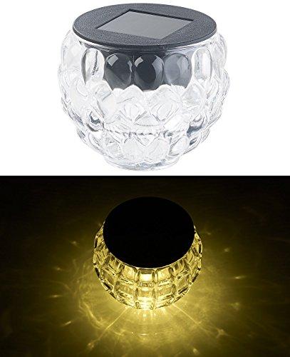 Lunartec Kabellose Lampen: Solar-LED-Windlicht Lucilla mit tollem Lichtmuster, Glas, IP44, Ø 8 cm (LED-Solar-Tischlampe)
