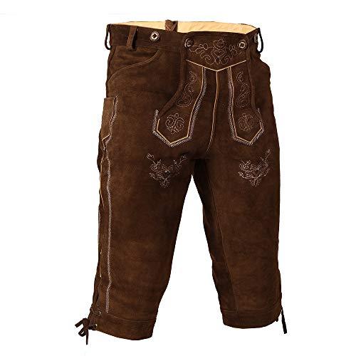 Bongossi-Trade Trachten Lederhose Kniebundhose mit Trägern aus Rindveloursleder, Braun, 58 BW 105-113cm