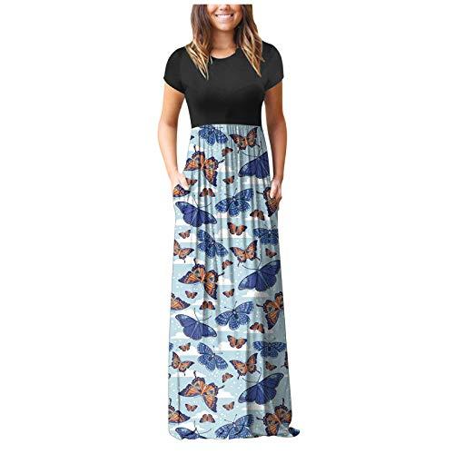 Vestido de verano con estampado de mariposa de girasol y manga corta para mujer, con bolsillos, elegante vestido de playa de verano