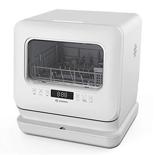 モーソー 食器洗い乾燥機 工事不要 タンク式食洗機 除菌率99.9% 6つの洗浄コース 液晶表示 ドライキープ搭載 分岐水栓対応 MooSoo MX10 ホワイト