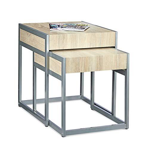 Relaxdays Mesa Auxiliar, Set 2 Unidades, Mesitas de Café para Salón o Dormitorio, DM-Metal, 57 x...