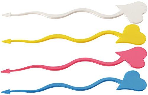 FACKELMANN partypicker hjärtmetallmetall 18 cm 10 st. av PS, plast, röd/blå/gul/vit, 18 x 1 x 1 cm, enheter