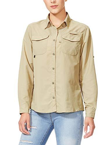 BALEAF Women's Hiking Long Sleeve Fishing Shirt UPF 50+ for Safari Camping Travelling Quick Dry Khaki XL