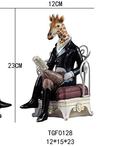 DAJIADS beeldjes, prachtige creativiteit dier beeldje model grappig zebra giraffe zittend hars decoratie boekensteunen stand Een giraf