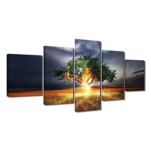 IGZAKER 5 sjabloon high-definition afdrukken boom donder canvas foto woonkamer decoratie uniek landschap muur ambachten-40x60 40x80 40x100cm geen frame