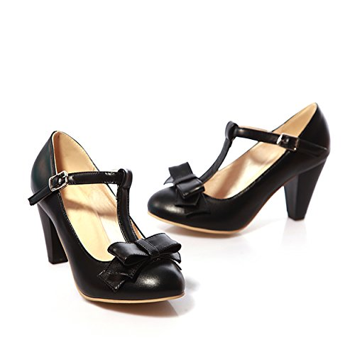 Susanny Women's Chic Sweet Round Toe T-Strap Bows Adorable Buckle High Cone Heel Mary Janes Dress Black Pumps 10 B(M) US