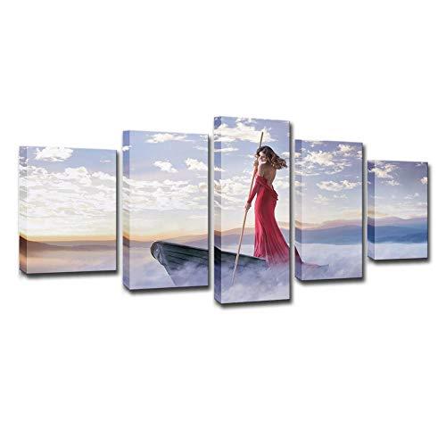 De mooie dames met rode jurk, 5 sets schilderijen, HD-druk, muurkunst, modern schilderij, thuisdecoratie, canvasdruk 8X14/18/22Inch Met frame