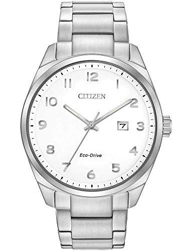 Citizen Watch Wr100 - orologio da uomo ad energia solare, con quadrante analogico bianco e cinturino in acciaio inox color argento, Bm7320-87B.