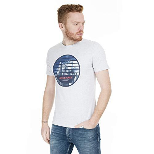 Jack & Jones Jcoifter tee SS Crew Neck Fst Camiseta, Melange Blanco, M para Hombre