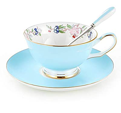 3 Piece Bone China Cup and Saucer Set with Spoon Vintage Porcelain Coffee Cup Set, Floral Tea Cup Set with Gold Trim and Gift Box, 7.1oz.