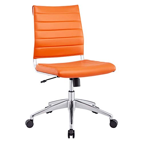 Modway EEI-1525-ORA Jive Ribbed Armless Mid Back Swivel Conference Chair In Orange
