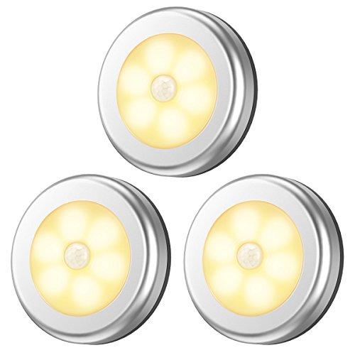 Criacr LED nachtlicht bewegingssensor, warm wit, 6 LED licht bewegingsmelder batterij, trapverlichting LED met bewegingsmelder voor kinderkamer, slaapkamer, gang (3 stuks)