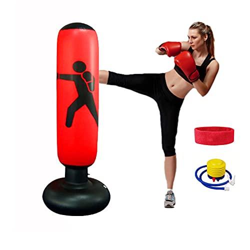 El 160cm Bolsa de Boxeo de pie Niños Adultos, Macllar Sacos de Boxeo con Soporte de Objetivo para Trabajo Pesado, Entrenamiento físico en casa, Equipo de Boxeo con Bomba de pie, Diadema Deportiva