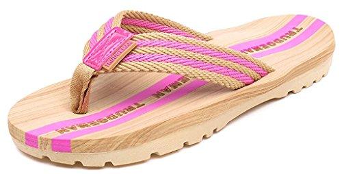 Damen Herren Zehentrenner Sommer Flip Flops Badelatschen Hausschuhe Pantoletten, Pink, 40 EU (41 Asia)