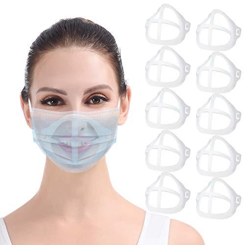 DISEN 10 Stück Masken Abstandshalter Unterstützung Innere Stützrahmen, Wiederverwendbare 3D Maske-Bracket Silikon Maskenhalterung Maskenunterstützung Halter Nasenpads, Lippenstift Schutz Maskenhalter