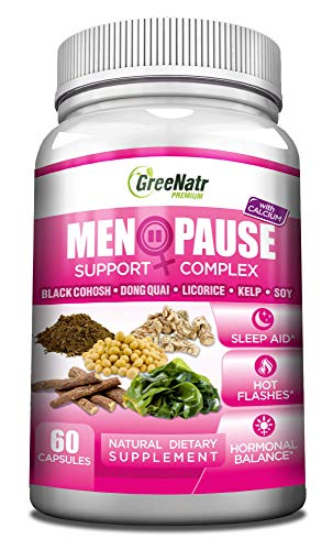 Herbal Menopause Support Complex for Hot Flashes, Night Sweats & Mood Swings Relief. Promotes Balanced Hormone Levels Naturally with Black Cohosh, Dong Quai, Licorice Root & Kelp Leaves, Veggie Caps