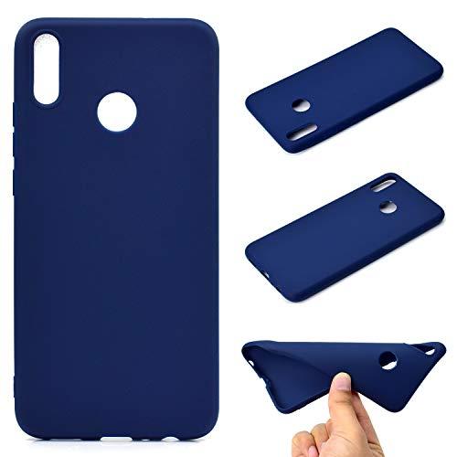 LeviDo Coque Compatible pour Huawei Honor 8X Étui Silicone Souple Bumper Antichoc TPU Gel Ultra Fine Mince Caoutchouc Bonbons Couleurs Design Etui Cover, Bleu Foncé